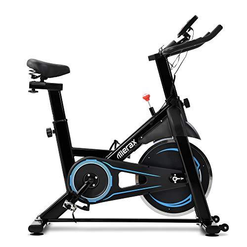 Bicicleta estática plegable, dispositivo de entrenamiento en casa, para entrenamiento de resistencia, para interiores, con volante de inercia de 8 kg, con pantalla LCD, color azul