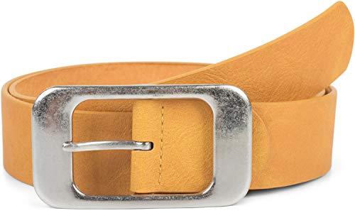 styleBREAKER cinturón unisex monocolor con una gran hebilla rectangular, acortable 03010100, tamaño:95cm, color:Mostaza