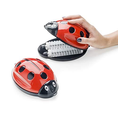 Recogedor de migas mariquita de plástico. Cepillo aspirador para manteles y alfombras 17x11x7 cm