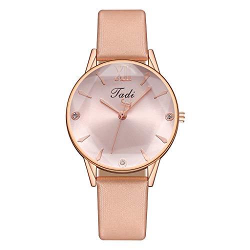 JZDH Relojes para Mujer Relojes para Mujer Elegantes Rose Oro Correa de Cuero Reloj de Cuarzo Rhinestone Relojes de Moda Femeninos Relojes Decorativos Casuales para Niñas Damas (Color : G)