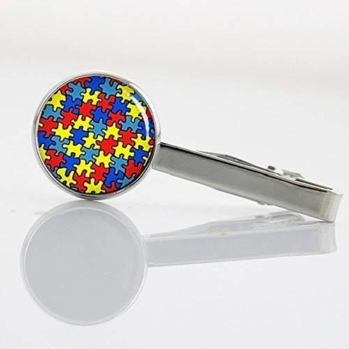 LinZX Autism Heart Krawattennadel Puzzle Stück Farbe Mosaik Krawattenklammer Atheist Atom-Symbol,T525