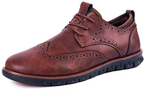 MEDUCH Hybrid Dress Shoes Leather Sneakers for Men Wingtip Casual Walking Oxford Brown11