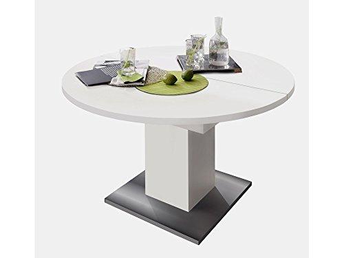 Mäusbacher 0588/120 Tisch rund Weiss matt/Edelstahloptik Esszimmertisch Küchentisch Speisezimmer ausziehbar auf 160 cm