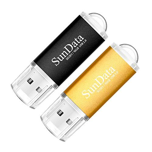 SunData Clé USB 16 Go Lot de 2 USB 2.0 Flash Drive Mémoire Stick Stockage Données Pendrive avec Lumière LED (2 Couleurs: Noir Or)