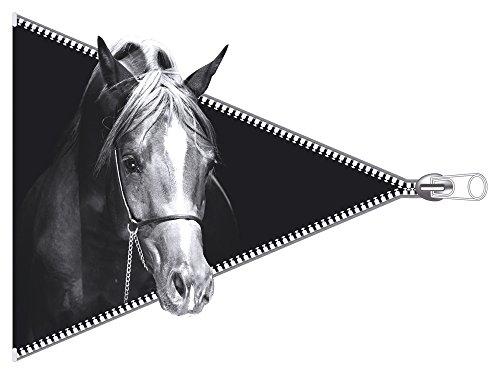 GRAZDesign Muurtattoo paarden - Muursticker Zwart Wit levendige paarden sticker dieren 3D - Hengst Fries 54x40cm