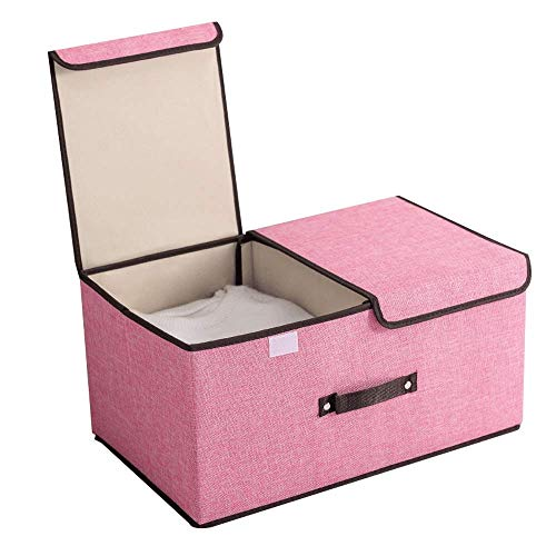YLKCU Storage Box Fabric Foldable Storage Box Double Cover Sealing Effect Is Good Clothes Sorting And Storage Detachable And Washable Family Dormitory Wardrobe (Color : Pink, Size : 36 * 25 * 16cm)