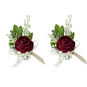 Fiwisora Burgundy Artificial Ranunculus Flower Wedding Bridal Corsage Bridesmaid Wrist Flower Corsage Flower Wristlet Greenery Plants Wristband for Wedding Prom Party Homecoming Wrist Corsage