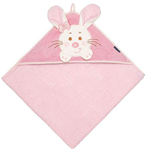 Morgenstern Kapuzenlaken Animals Hase 100 x 100 cm color: Rosa