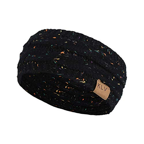 Wimagic 1X Bande de Cheveux Femme Homme Bandeau en Laine tricoté Élasticité Serre-tête Cheveux Mode Accessoires 22 * 11cm (Noir)