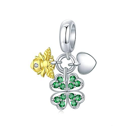 LISHOU DIY S925 Plata De Ley Cuatro Hojas De Oro Abeja Esmalte Corazón Verde Colgante Charms Beads Fit Original Pandora Collar De Pulsera con Cuentas DIY Mujer Fabricación De Joyas