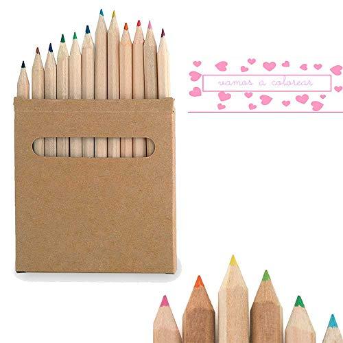 Set de 12 lápices en caja de cartón natural con ventana. L