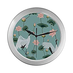 Wall Clocks for Bedrooms Lightweight Flower Birds Print Early Spring Living Room Clocks Wall 9.65 Inch Silver Quartz Frame Decor for Office/School/Kitchen/Living Room/Bedroom