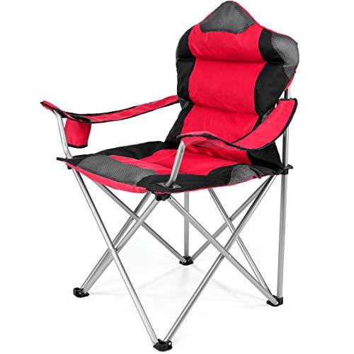 TRESKO Campingstuhl faltbar bis 150 kg | Angelstuhl Faltstuhl Klappstuhl mit Armlehnen und Getränkehalter (Rot)