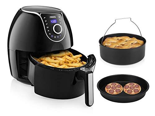 Friggitrice ad aria calda, digitale, XXL, con accessori, teglia per pizza e teglia da forno, 5,2 litri, 8 programmi, senza olio