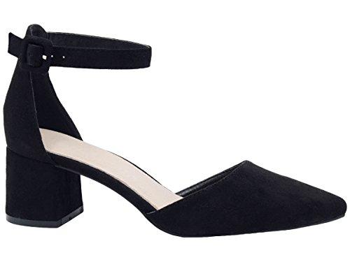 Greatonu Zapatos de Tacón Ancho Suede Modo Clásico con Hebillas Negro para Mujer Tamaño 41 EU