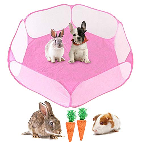 kathson Small Animals Cage Tent, Breathable and Transparent Reptiles Cage, Fold Exercise Playpen Pop...
