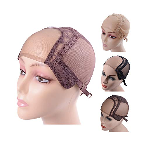 4X4 Inch U Part Swiss Lace Wig Cap for Making Wigs with Adjustable Straps on the Back Glueless Hairnets (Brown S)