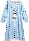 trudge Mädchen Nachthemden Kinder Süße Katze Nachtwäsche mit Spitze Langarm Prinzessin Polka Dot Pyjamas Schlafanzug Nightdress Sleepwear 3-13 Jahre Herbst Winter