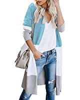 AUSELILY Womens Fall Loose Cardigan Sweaters Long Sleeve Oversized Colorblock Lightweight Cardigan Sweater Coat for Women(L,Lake Blue )
