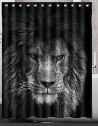 Ahorn und Home Custom Löwe Muster Druck Wasserdicht Duschvorhang, Polyester Badezimmer Cut Off zum Aufhängen Vorhang Bad Duschvorhang 180* 180CM