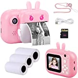 Seelaugh 2.4' Color Screen Kids Instant Print Instax Camera for Girls Boys Creative Digital, Shockproof Cameras Great Mini Camera Zero Ink Toy Camera with Print Paper.Pink with 16G SD Card(Pink)