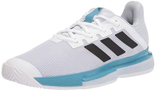 adidas Solematch Bounce, Zapatos de Tenis Hombre, Blanco Negro Halo Blue, 45 1/3 EU