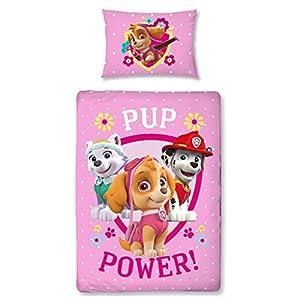 Paw Patrol Ropa de cama para niñas, ropa de cama para niños, ropa de cama para bebé, franela, rosa, PUP Power, funda de almohada de 40 x 60 cm y funda nórdica de 100 x 135 cm, con cremallera