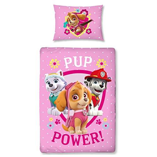 Paw Patrol Mädchen-Bettwäsche · Kinderbettwäsche/Babybettwäsche · Flanell/Biber · Rosa, Pink · PUP Power · Wendebettwäsche · Kissenbezug 40x60 + Bettbezug 100x135 cm - Reißverschluss