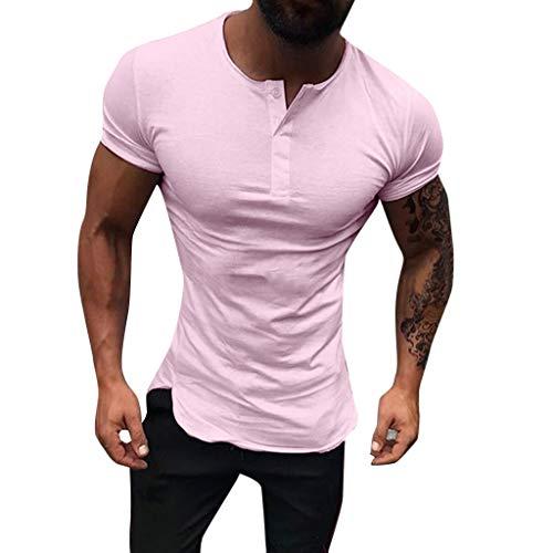 Hombre Manga Corta,YanHoo Hombre Camisetas Deporte Ropa Deportiva Camisa Verano Moda para Verano Moda para Hombre Casual Color Algodón O-Cuello de impresión de Manga Corta Top Blusa