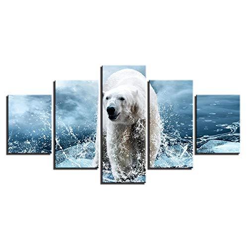 TMMTO Leinwandbild 5 Teilig Leinwand Gemälde Modulare Wandkunst Hd Drucke Wohnkultur Eisbär Bilder Tiere Poster Für Wohnzimmer Rahmen-A
