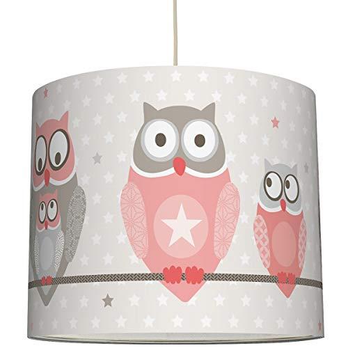 anna wand Hängelampe OWL STARS GIRLS – Lampenschirm für Kinder/Baby Lampe mit Eulen in Apricot-Taupe – Sanftes Kinderzimmer Licht Mädchen & Junge – ø 40 x 34 cm