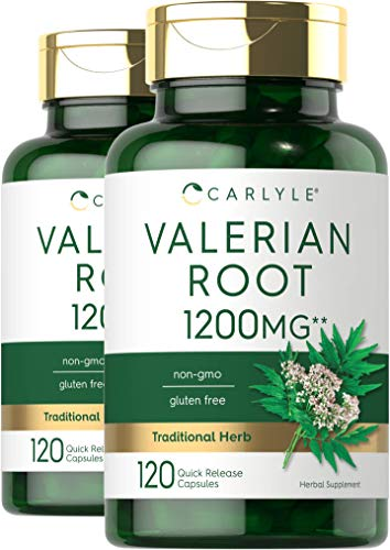 Valerian Root Capsules 1200mg | 240 Pills | Highest Potency Per Capsule | Non-GMO, Gluten Free | Herb Extract Supplement | by Carlyle