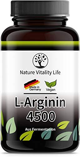 Nature Vitality Life® L-Arginin hochdosiert ohne Zusatzstoffe - 365 vegane Kapseln - 4500mg L-Arginin HCL pflanzlich (=3750mg reines L Arginin) je Tagesdosis - Herstellung in Deutschland
