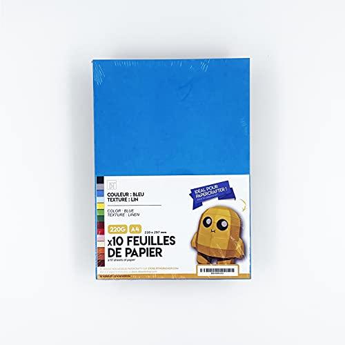 DT WORKSHOP - 10 hojas azules - 250 g papel texturizado para papertoy papertoy papertrofy origami 3D sólido color azul