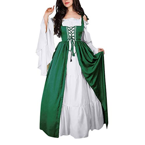 Mittelalter Kleidung Damen, Sannysis Damen Mittelalterliche Kleid mit Trompetenärmel Party Kostüm Maxikleid Prinzessin Renaissance Royalty Irisches über und reines weißes Chemise-Set
