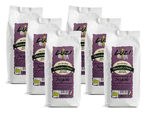 Farina integrale di segale da agricoltura biologica, 6 confezioni da 500 gr, Luzi Food, 3 kg
