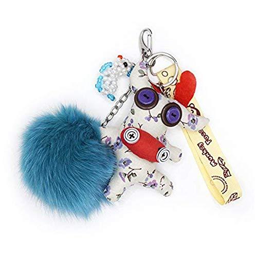 Schlüsselanhänger Stahl zu Handtasche, Bommel blau grau.