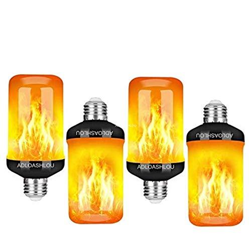 ADLOASHLOU 4 Stück Flamme Glühbirne, E27 Flammen Lampe mit 4 Beleuchtungs Modi Flammen Effekt Glühlampen LED, Dekorative Retro Innenglühlampen im Freien für Halloween,Weihnachten, Hochzeitsfest