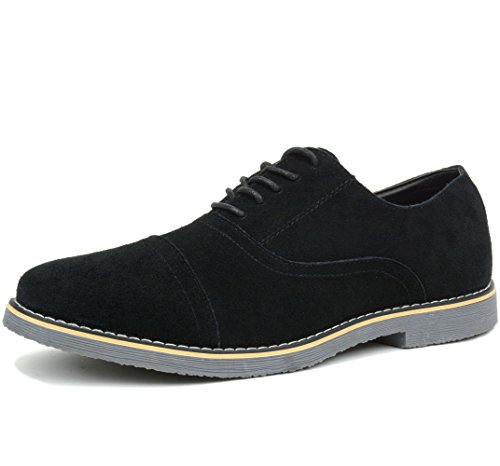 Alpine Swiss Ashton Mens Dress Shoes Genuine Suede Lace Up Oxfords Black 11 M US