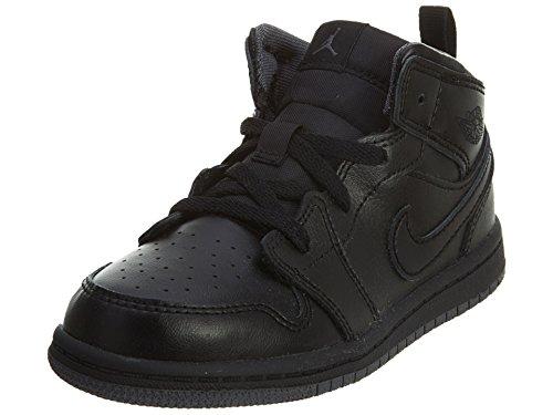 jordan Jordan Nike Toddlers 1 Mid Bt Black/Black/Dark Grey Basketball Shoe 6 Infants US