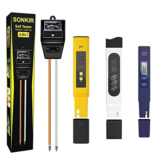 Sonkir Soil pH Meter,3-in-1 Soil Moisture/Light/pH Tester, pH Meter TDS Meter, 4 Meters Combo Temperature pH Moisutre Test for Liquid and Soil