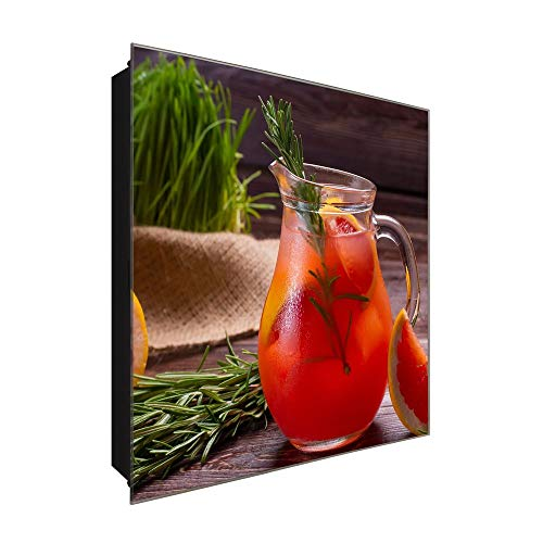 DekoGlas Schlüsselkasten 'Blutorange Rosmarin ' 30x30 Glas, inkl. Haken Schlüsselbrett Schlüssel-Box Design Aufbewahrung