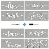 Stencils For Painting on Wood | Cursive Script Sayings, Word Paint Stencils: WELCOME LOVE GRATEFUL etc+ Mandala Hearts | 16 pcs Essential Inspirational Stenciling Kit | Rustic Farmhouse DIY Home Decor