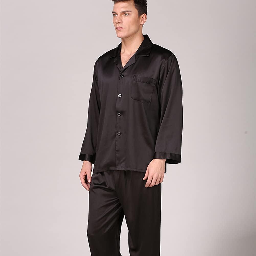 RH-ZTGY Mens Silk Pajama Sets Men Sleepwear Silk Nightgown Home Male Satin Soft Cozy Sleeping,Black 1,3XL