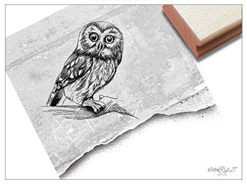 Stempel Tierstempel Eule Kauz - Motivstempel für Schule Beruf Karten Basteln Kunst Tischdeko Scrapbook Bullet Journal Deko Geschenk - zAcheR-fineT