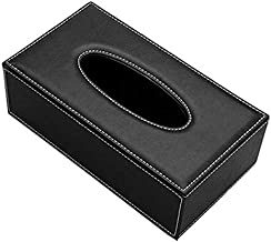 PU Leather Rectangular Tissue box Holder Cover Case Tray Pumping for Home Office Car Automotive (Black)