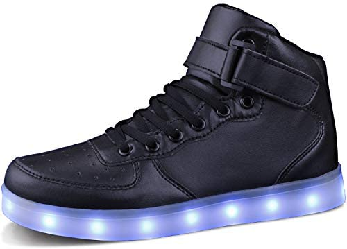 MILEADER Black High Top LED Shoes 7 Colors Light Up Sneakers for Women Men USB Charging Flashing product image