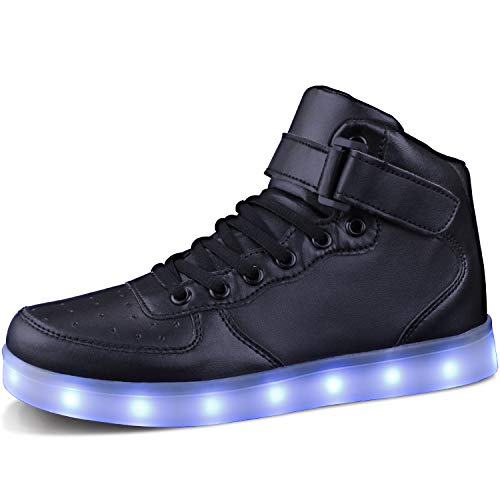 MILEADER Black High Top LED Shoes 7 Colors Light Up Sneakers for Women Men USB Charging Flashing Shoes Size 7.5 Women 6 Men