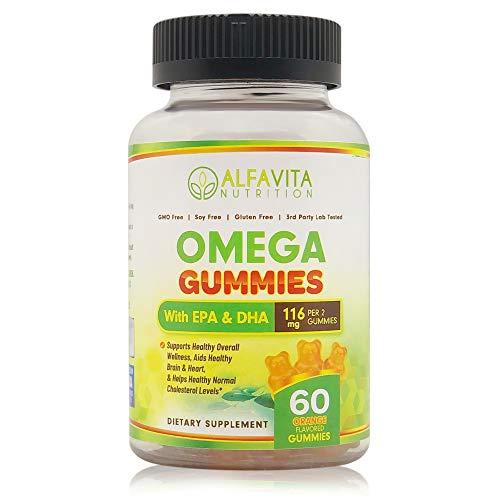 AlfaVita Nutrition Omega 3 Gummies- EPA and DHA Gummies- Healthy Heart, Enhanced Brain and Overall Wellness- Normal Cholesterol Levels- Kids Vitamins Gummy- Omega 3 Gummies for Adults- Fish Oil Omega