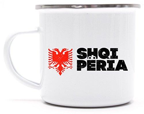 Länder Wappen Tirana Länder bedruckte Metalltasse Emaille Camping Tasse mit Spruch Motiv Flagge Albanien 2, Größe: onesize,weiß/silber